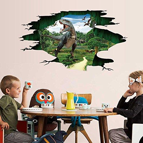 Deloito 3D Dinosaurier BodenTapete Wandaufkleber Entfernbare Wandtattoo Vinyl Wohnzimmer Dekor