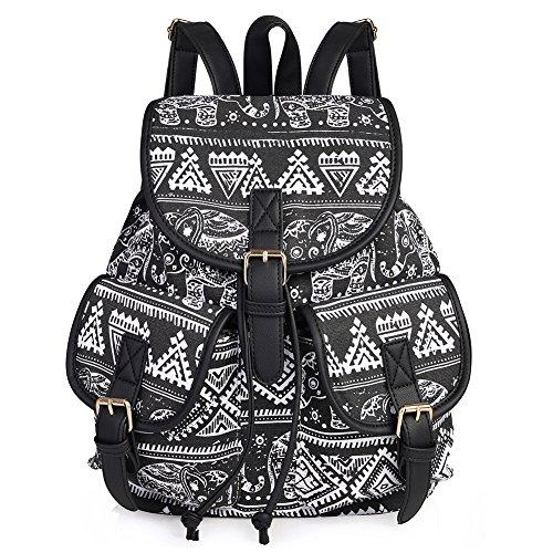 Vbiger Damen Rucksack Damen Daypack Backpack Canvas Rucksack Vintage Rucksack Schulrucksack mit Großer Kapazität, Schwarz Elefant+, One Size