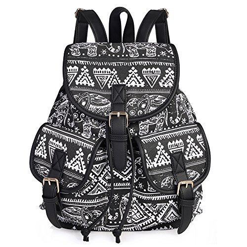 Vbiger Damen Rucksack Damen Daypack Backpack Canvas Rucksack Vintage Rucksack Schulrucksack mit Großer Kapazität (Frauen Rucksack Canvas)