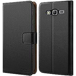 HOOMIL Coque Samsung Grand Prime, Housse en Cuir Premium Flip Case Portefeuille Etui Coque pour Samsung Galaxy Grand Prime (H3119, Noir)