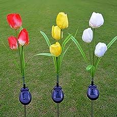 Ocamo Waterproof Tulip Solar Powered LED Garden Lights, 3 Led Solar Path Lights for Patio Deck Driveway Garden Christmas Party Wedding