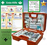 Erste-Hilfe-Koffer DIN/EN 13157 für Betriebe + Aushang + PVC-Schild 1.Hilfe + Verbandbuch + Wundreinigung