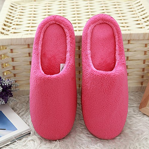 Fankou Classico inverno semplice semplice corallo color cashmere spugna di memoria home pantofole giovane modelli casa calda panno di cotone Marineblau