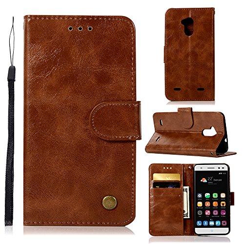 kelman Hülle für ZTE Blade V7 Lite / V6 Plus Hülle Schutzhülle PU Leder + Soft Silikon TPU Innere Schale Brieftasche Flip Handyhülle - [JX03/Braun]
