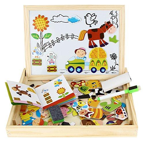 Kinder Holz Spielzeug Lernspielzeug Magnetic Magnetisch Puzzle Holzbrett Staffelei Tafel Wooden Double Side Drawing Writing Board Toy Set Jungen Mädchen ab 3 Jahren Zeichnung Tier von Discoball