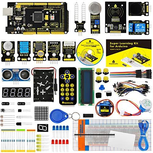 KEYESTUDIO Starter Kit de Arduino con Guías Tutorial, Placa Controladora MEGA 2560 Mega Kit, Sensor Ultrasónico, Pantalla LCD1602, Servomotor, Motor Paso a Paso,Conjunto Mas Completo y Avanzado de Iniciación a Arduino