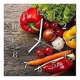 Glasuhr von DekoGlas 30x30cm quadratisch Bilderuhr aus Acrylglas mit lautlosem Quarzuhrwerk Dekouhr Glaswanduhr Uhr aus PMMA Wanduhren Küchenuhr Wanddekoration Glasbilder Gemüse mehrfarbig