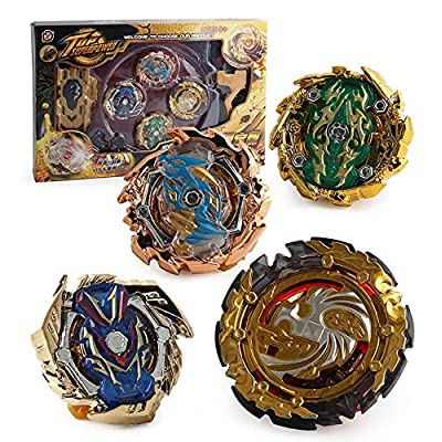 4 New Arrival Blades Burst Gyro Set Golden 4 in 1 Metal Fury Spinning Top with 2pcs Launcher Stadium Arena Battle Fight Toy