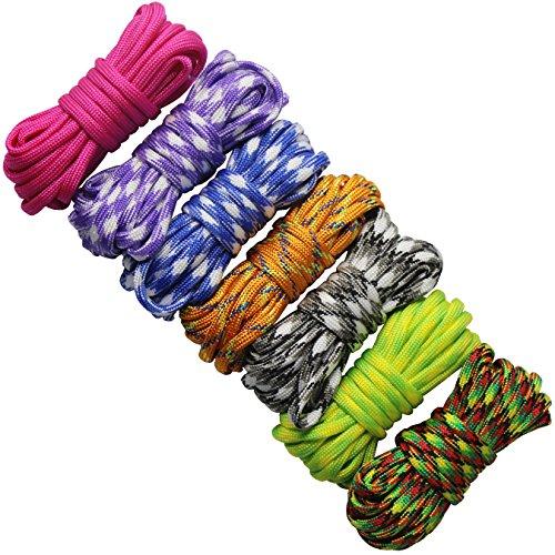 Imagen de 7 piezas cuerda paracord set ideal para el aire libre, camping, trenzar pulseras y llavero diy mano tejida