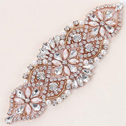 Cristalli e rhinestone applique in ferro con perle per cinte da sposa in cotone headwear garters (oro rosa con perle)