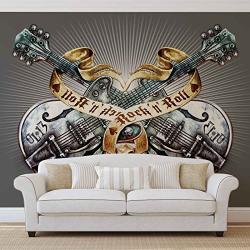 Gitarren Rock Roll Heavy Metal - Wallsticker Warehouse - Fototapete - Tapete - Fotomural - Mural Wandbild - (1083WM) - XXL - 312cm x 219cm - VLIES (EasyInstall) - 3 Pieces (X-heavy Roll)