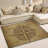 Naanle Vintage-Teppich mit Kompassrosen-Motiv, rutschfest, für Wohnzimmer, Eßzimmer, Schlafzimmer, Küche, 60x 90cm, multi, 150x200 cm(5'x7')