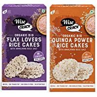 Wise Crack Organic Rice Cakes Flax Lovers Whole Grain Puffed Cracker, Crispy Healthy Snacks & Wise Crack Organic Big…