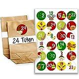 Calendario dell'Avvento fai-da-te, da creare a piacere - mini-kit completi con 24 bustine - Calendario dell'Avvento da riempire - disegno numero 1