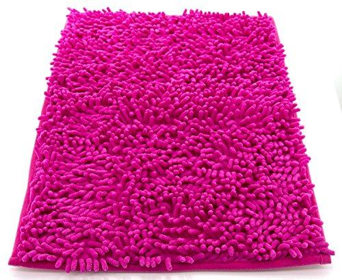 Tappeto da bagno camera ingresso e cucina, a pelo lungo 2.5 cm, materiale in micro fibra, scendi doccia morbida, assorbente, lavabile in lavatrice, retro in gomma antiscivolo rosa 40x60cm