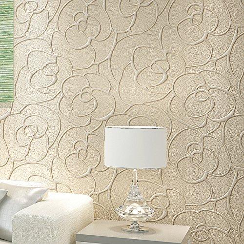 Ketian, rullo di carta da parati moderna, minimalista, con rosa 3d, in tessuto non tessuto a rilievo, per soggiorno, camera da letto, 0,53 x 10 m(l x l)= 5,3m2, cream, 0.53m (1.73' w) x 10m(32.8'l)=5.3m2 (57 sq.ft)