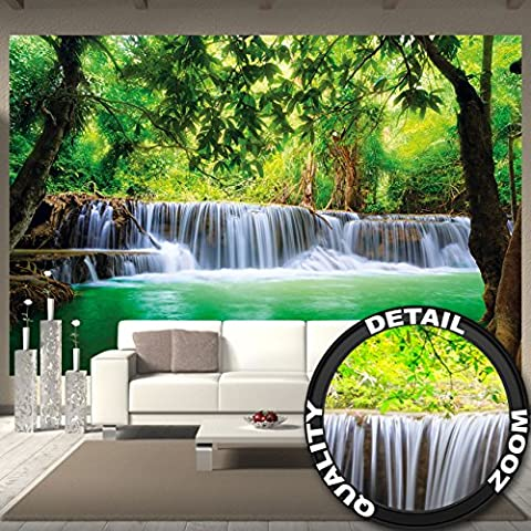 Wall paper Waterfall Feng Shui Wall Picture Decoration Nature Jungle Scenery Paradise Vacation Thailand Asia Wellness Spa Relax | Wallposter Photoposter wall mural wall decorby GREAT ART (132.3 Inch x 93.7 Inch / 336 x 238cm)