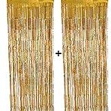 CozofLuv 2 Packung 1 x 3 M Metallic Tinsel Vorhänge, Folie Fringe Schimmer Vorhang Tür Fenster Dekoration für Geburtstag Hochzeit (Gold)
