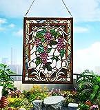 makenier Vintage Tiffany-Stil gebeizt Art Glas Trauben und Kolibris Fenster Panel Wand-zum Aufhängen