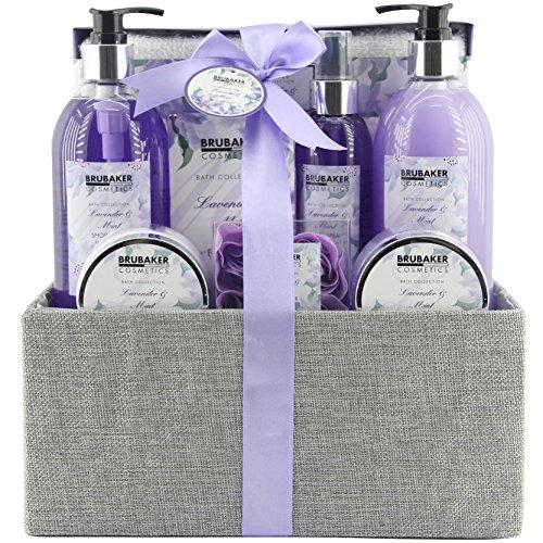 BRUBAKER Cosmetics Bade- und Dusch Set Lavendel Minze Duft - 12-teiliges Geschenkset in dekorativer Jute-Box -