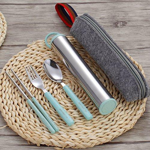 Fork Spoon Chopsticks Set, Komost Stainless Steel Cutlery Set, Portable Flatware Set, Travel Untensils Set with Carrying Case & Bag for Work, Outdoor Travel