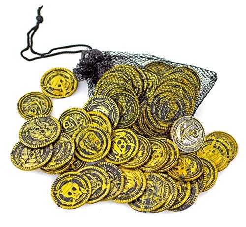 Muster Kostüm Azteken - Piraten Gold-farbene-Münzen Set Netz Scherzartikel Taler Dublonen Kostüm Verkleidung Seeräruber Karneval Fasching Halloween