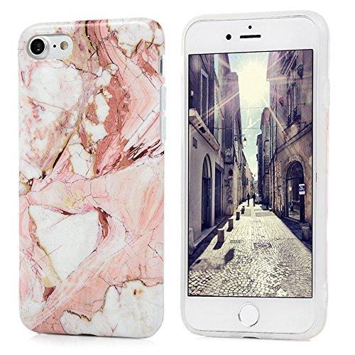 iPhone 7 Marmor Hülle, KASOS Marble Handyhülle : Silikon Case Weich TPU Huelle mit IMD Technologie für Apple iPhone 7 Rose Weiß Rose weiß