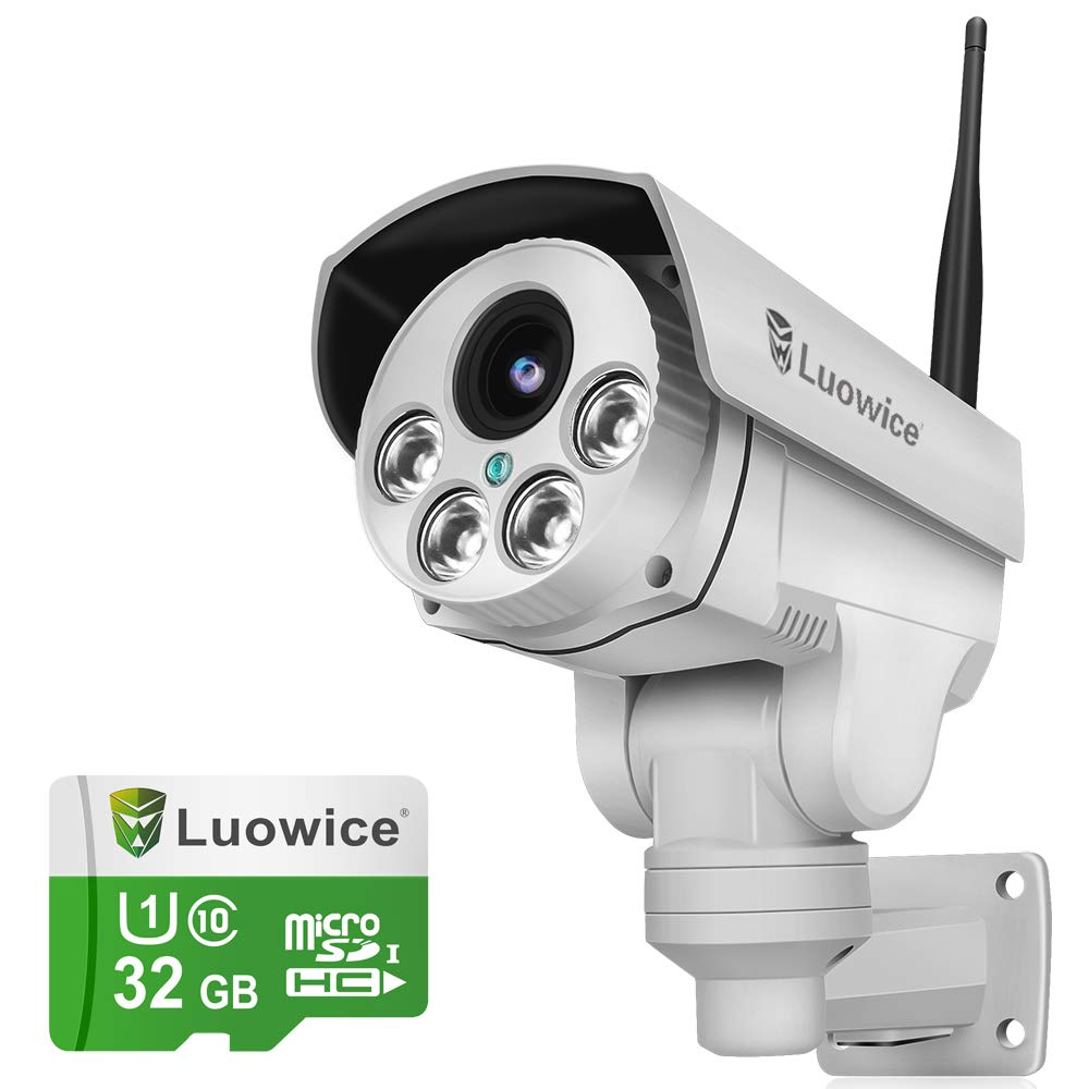 Luowice 1080P Wifi Security Camera 2MP with PTZ 4X Zoom with Audio Night Vision and Built-in 32G Micro SD Card Indoor…