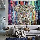 210cm Tapa de la tapa de la tapicería de India grande Colgante de la colcha del elefante del Hippie Bohemia (elefante colorido)