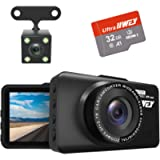 Dash Cam Front and Rear Camera FHD 1080P with Night Vision and SD Card Included, 3 Inch IPS Screen Dash Cam for Cars…
