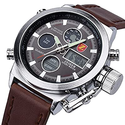 Zeiger Alarm Chronograph Stopwatch Multifunction Men Watch Analogue Digital Military Watches for Man Dual Time Week Date Wristwatch with High Quality Watch Box - low-cost UK light store.