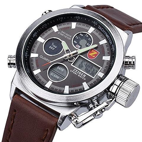 Herren Uhr Sport Uhr ZEIGER Analog Digital Quarz Herren Armbanduhr