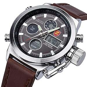 Herren Uhr Sport Uhr ZEIGER Analog Digital Quarz Herren Armbanduhr Alarm Licht Chronograph Datum (Braun)