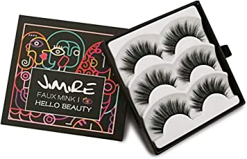 JIMIRE Falsche Wimpern Wispies Wimpern Pack Fluffy Lange 3D Fake Wimpern Resuable Wimpern 3 Paar