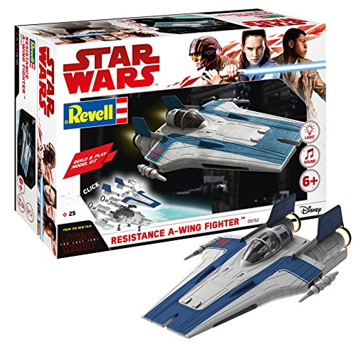 Revell Build & Play - Star Wars Resistance A-wing Fighter in blau - 06762, Maßstab 1:44, originalgetreue Nachbildung mit beweglichen Teilen, mit Light&Sound Effekten, robust zum ()