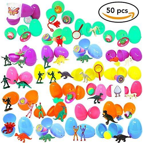 Confezione da 50 uova di pasqua colorate con sorpresa riempite con 50 giocattoli diversi - ottimo regalo per pasqua.