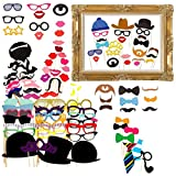 Gudotra 73 Packs 72pcs Set di Accessori di Carta Photo Booth+ 1pz Cornice di Cartaper per Festa Matrimonio Compleanno Natale Battesimo Halloween Partito Riunione di Famiglia per Bambini e Adulti