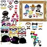 Gudotra 73pcs Photobooth Accesorios para Bigotes Labios Corbatas Gafas Sombreros para Partido Boda Cumpleaos Graduación Mascarada