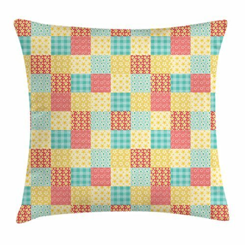 Patchwork Throw Pillow Cushion Cover, Coming of Spring in Rustic Country Theme Vintage Floral and Plaid Quilt Pattern, Decorative Square Accent Pillow Case, 18 X 18 Inches, Multicolor -