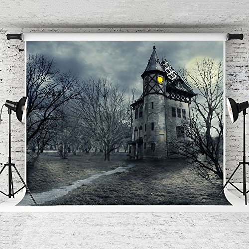 Kate 7 x 5ft Halloween Photography Hintergrund Forest Vintage Castle Hintergrund Foto Falten frei Fantasy Sky Studio Shoot