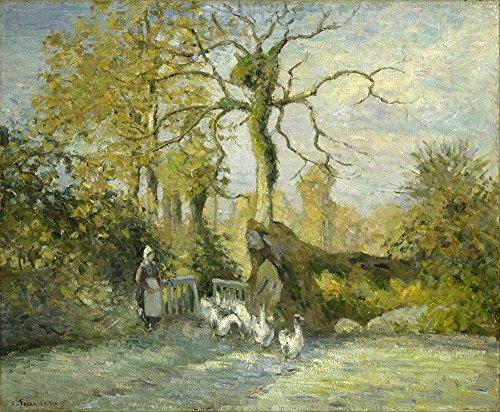Frost White Frame (Spiffing Prints Camille Pissarro - The Goose Girl at Montfoucault White Frost - Large - Matte - Black Frame)