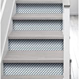 PLAGE Vinilos para Escaleras-Lluvia Geométrica XL, Azul, 19x3x100 cm, 3 Unidades