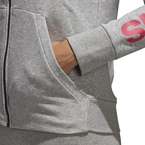 adidas Damen Hoodie Essentials Linear Full-zip Medium Grey Heather/Real Pink