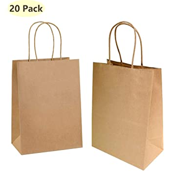 9bbc3488b4 YOUZI Gift Bags 20 Pack Medium Blank Paper Carrier Bags for Wedding Gifts