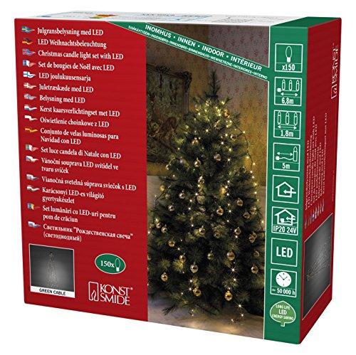 """Konstsmide 6360-120 LED Lichterkette \""""Baummantel\"""" / für Innen (IP20) / VDE geprüft / 24V Innentrafo / 150 warm weiße Dioden / dunkelgrünes Kabel"""