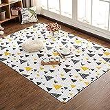 Liveinu Baumwolle Tatami Teppich mit Anti-Rutsch Unterstützung Faltbarer Abwaschbarer Kinderteppich Spielteppich Babyteppich Für Wohnzimmer 150x210cm Geometrisches Dreieck