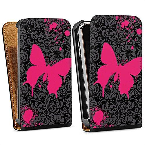 Apple iPhone 5 Housse Étui Silicone Coque Protection Papillon Papillon Rose vif Sac Downflip noir