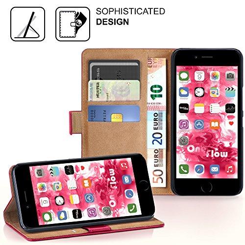 iPhone 6S Plus Hülle Schwarz mit Karten-Fach [OneFlow 360° Book Klapp-Hülle] Handytasche Kunst-Leder Handyhülle für iPhone 6 Plus / 6S + Plus Case Flip Cover Schutzhülle Tasche BERRY-FUCHSIA