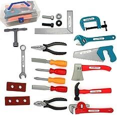 Likeluk 22 Stücke Werkzeug Spielzeug Set Lustiges Werkzeugkisten-Set Pretend Spielen Spielzeug für Kinder