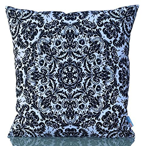 Sunburst Outdoor Living 45cm x 45cm BLACK AND WHITE Decorative Throw Pillow Cushion Cover for Couch, Bed, Sofa or Patio - Only Case, No Insert